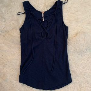 Navy Lace Up Tank Top